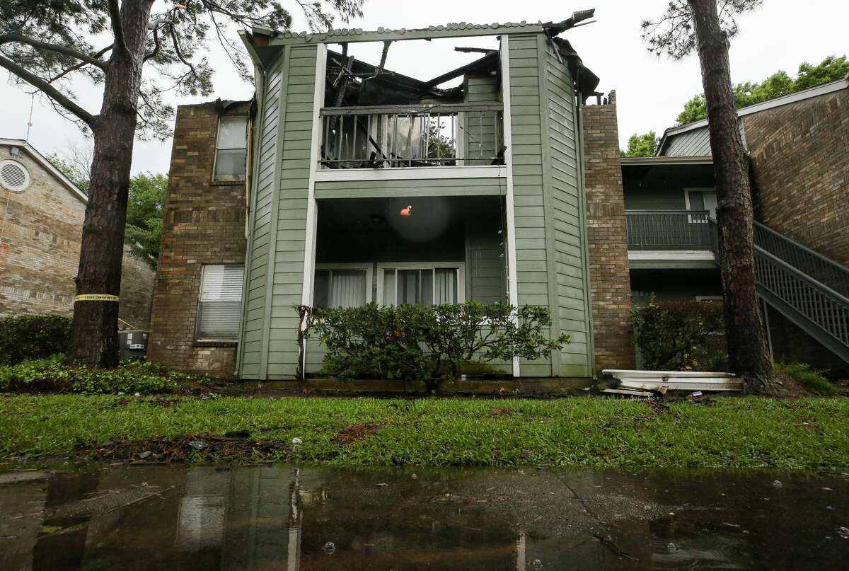 Damaged caused by lightning can be seen at an apartment complex on the 17200 block of Blackhawk Boulevard on Wednesday, May 19, 2021, in Friendswood.