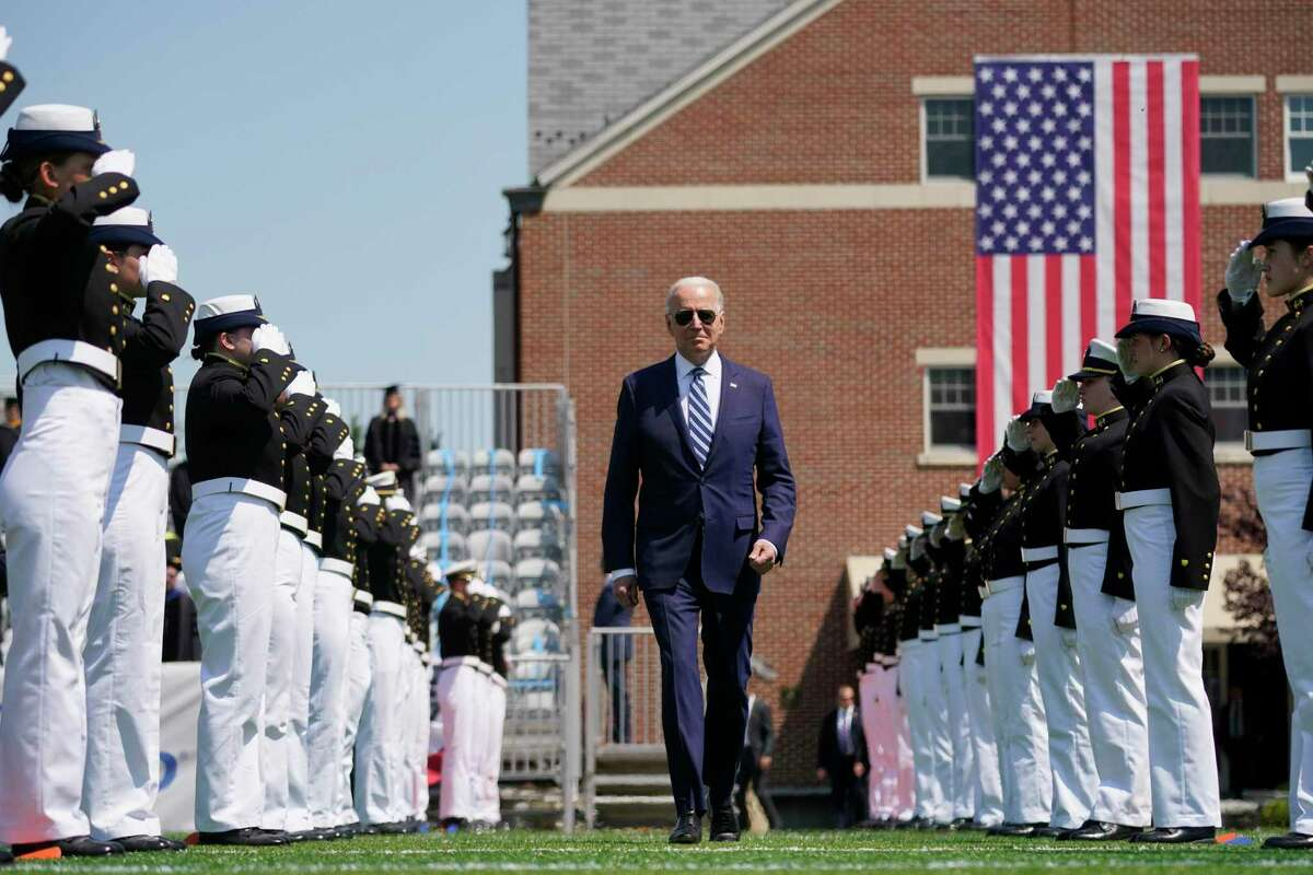 President Joe Biden arrives to speak at the commencement for the United States Coast Guard Academy in New London, Conn., Wednesday, May 19, 2021. (AP Photo/Andrew Harnik)