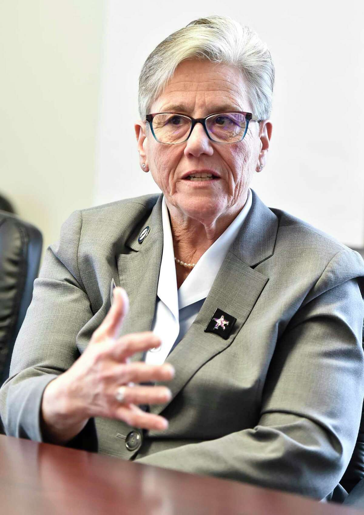 Colchester First Selectman May Bylone speaks to the media in this January file photo.