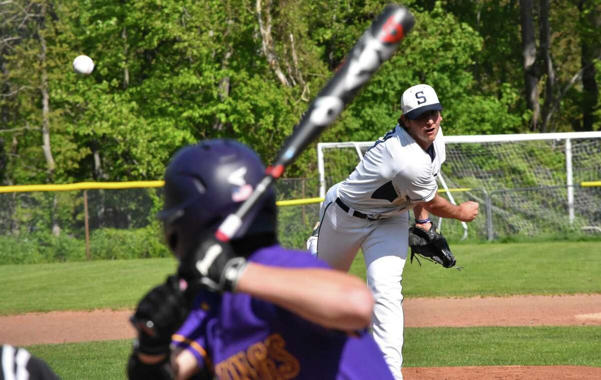 Staples pitcher Carter Kelsey pitches against Westhill in a baseball game at Staples high on May 13.