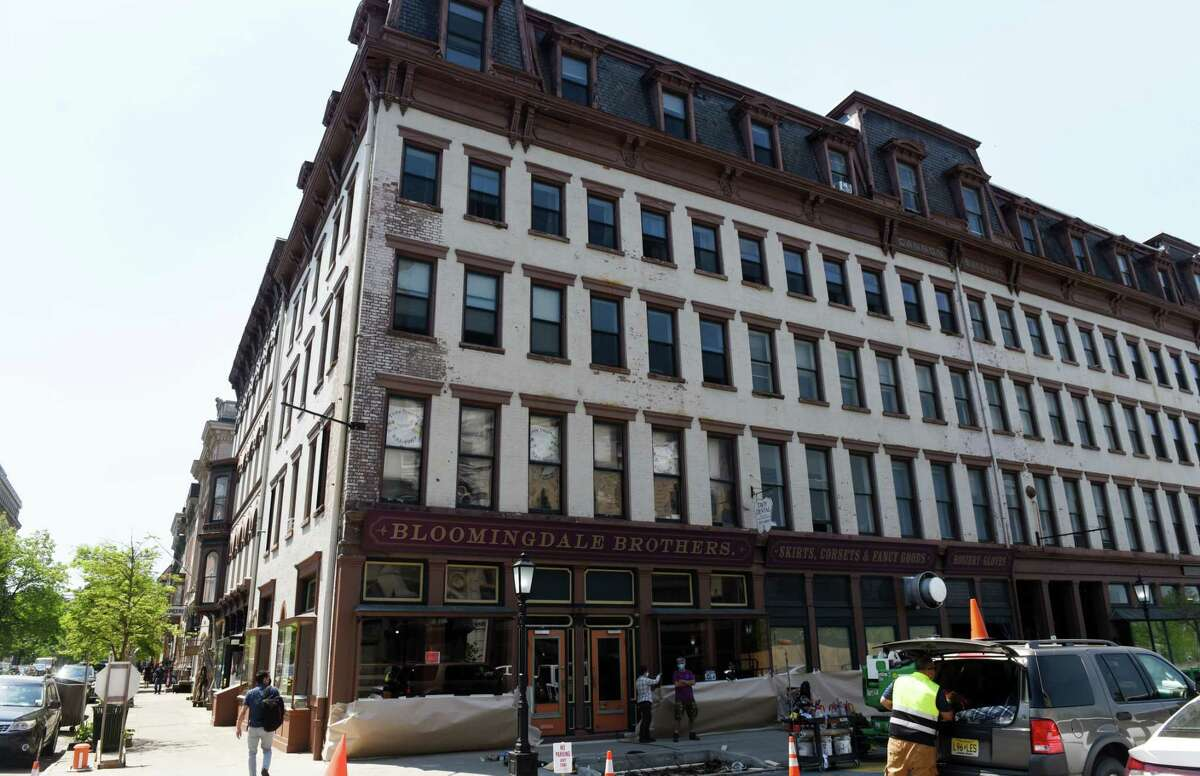 """Storefronts in Troy's Monument Square are being transformed into a victorian era street setting for the filming of """"The Gilded Age,"""" an upcoming HBO historical drama series, on Wednesday, May 19, 2021, in Troy, N.Y. (Will Waldron/Times Union)"""