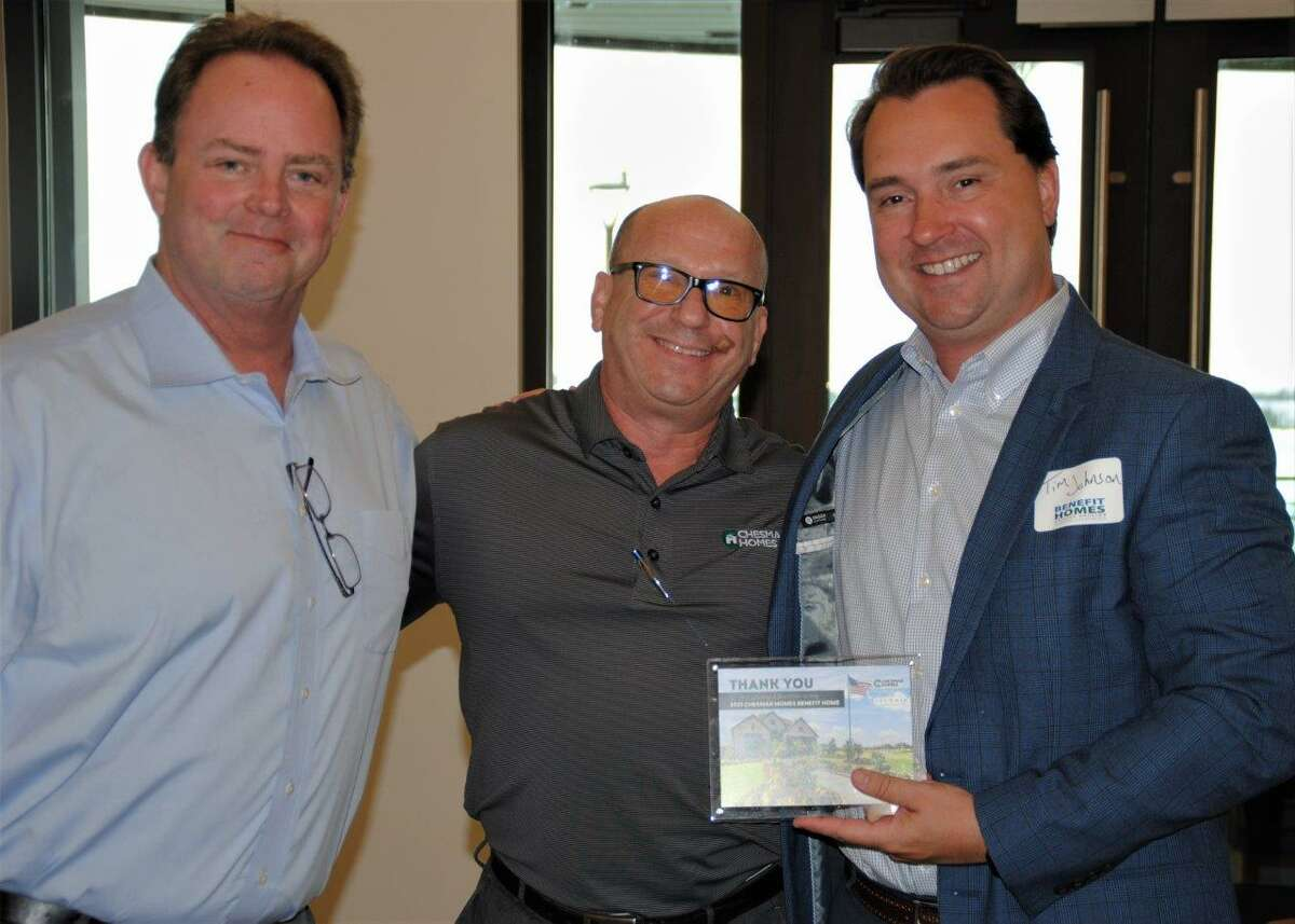Patrick Mayhan (left), Benefit Homes Project chair and VP of purchasing for MI Homes; Scott Merovitch, city president of Chesmar Homes and Tim Johnson, director of community sales and marketing Land Tejas attended the Chesmar Home Benefit Homes Luncheon in the community of Lago Mar.