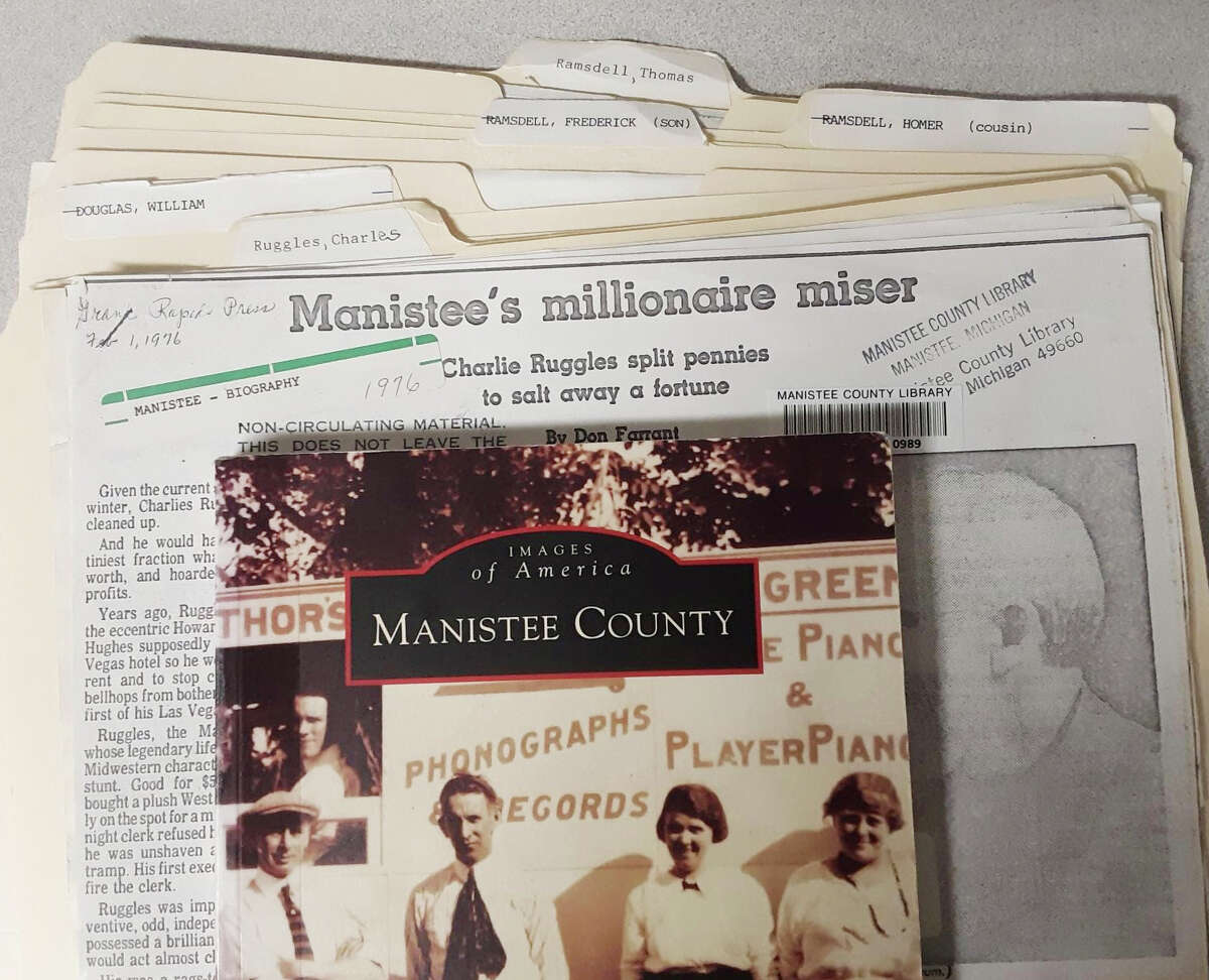 During the 19th century, Manistee County claimed to have more millionaires per capita than anywhere in the United States, according to the City of Manistee's website section on the area's history. The library has biographies in the pamphlet file on T.J. Ramsdell and family, William Douglas and Charlie Ruggles, known as