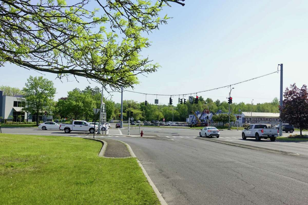 A view from just inside the Hannaford Plaza of the intersection of Route 4 and Columbia Turnpike on Wednesday, May 19, 2021, in East Greenbush, N.Y. This area is envisioned as the town center under a new comprehensive plan the town board is adopting. (Paul Buckowski/Times Union)