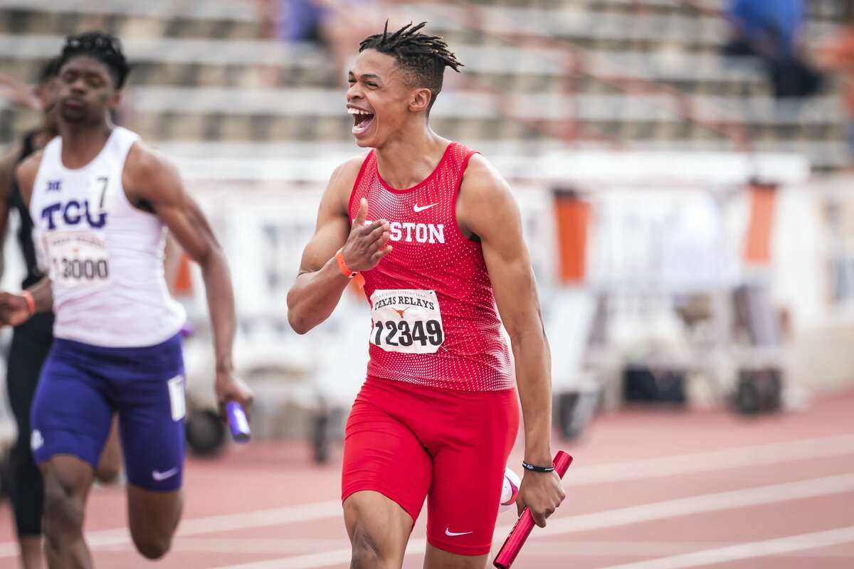 Shaun Maswanganyi celebrates at the Texas Relays, when he ran the anchor league for UH's 4x100 relay team that clocked in at 38.49 seconds, the fastest time in the NCAA and second-best in the world this season.