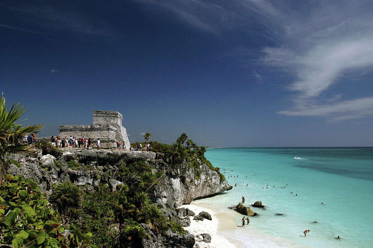 The Tulum temple overlooking the beach.