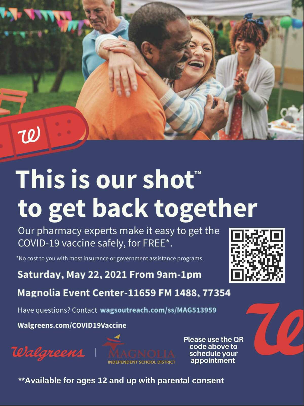 Free COVID-19 vaccines will be available to community members at the Magnolia Event Center, 11659 FM 1488, on Saturday, May 22, 2021.