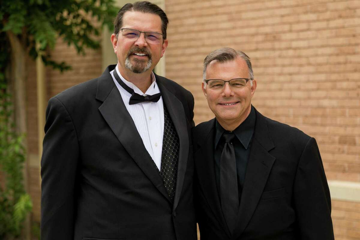 """Pictured are Dr. Bob Horton, Artistic Director for the Montgomery County Choral Society, left, and Craig Stephan, right, accompanist for the group. The Choral Society is preparing for its first concert in a year and half. """"The Road Home"""" is at 7 p.m. Monday at the Willis Performing Arts Center."""