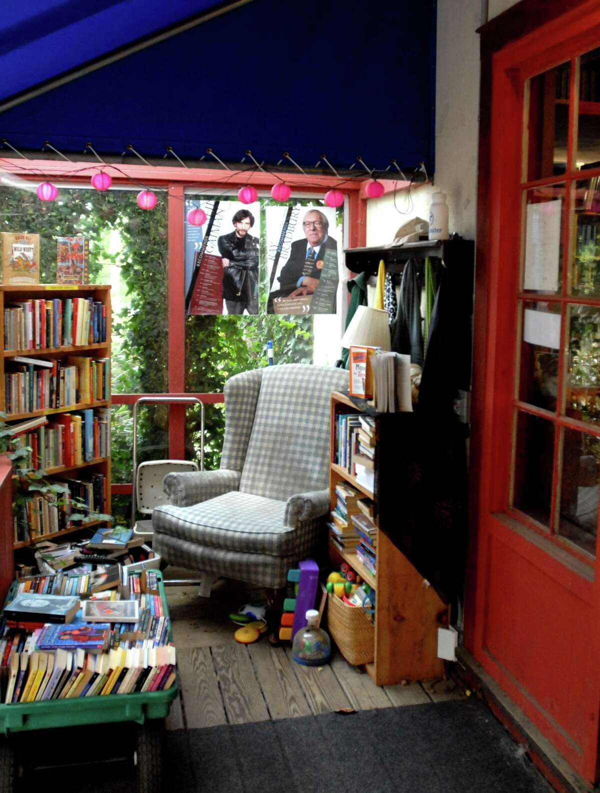 A cozy child-friendly space at the entrance of the Book Barn in Niantic.