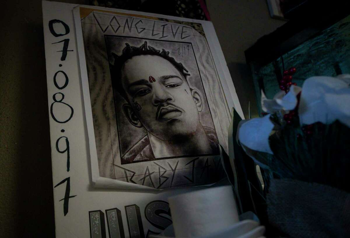A photo of Jaquaree Simmons in the apartment of his mother, Larhonda Biggles, on Wednesday, May 12, 2021, in Houston.