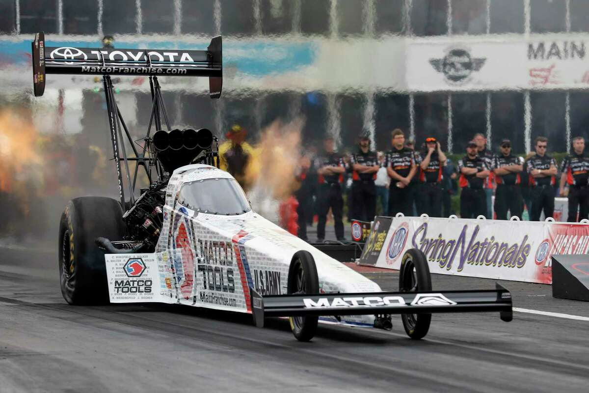"""Antron Brown feels at home at Houston Raceway Park, winning twice at the track he says """"has a lot of character."""""""