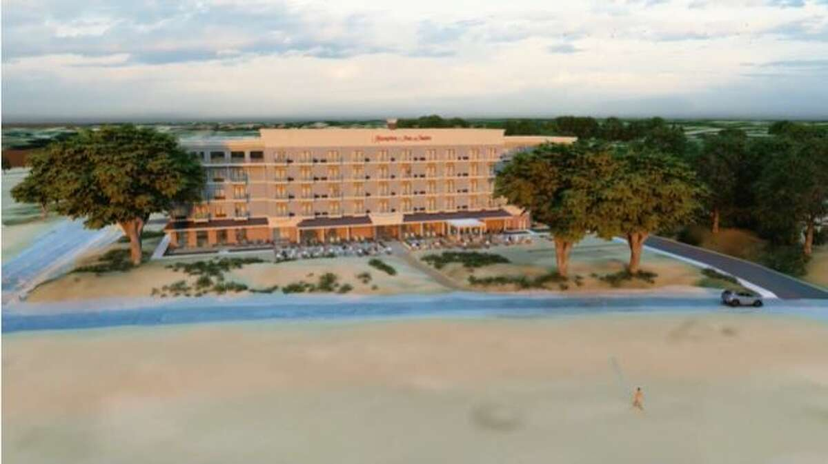This screenshot is from a conceptual video produced by the developers of the proposed Hampton Inn project near First Street Beach in Manistee. The video shows what the project will look like from vantage points. (Screenshot/Streamable video)