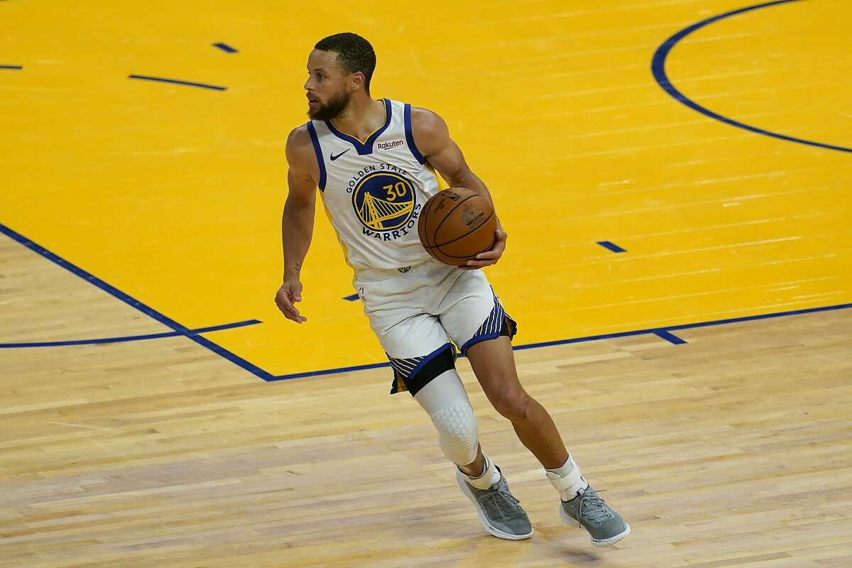 Golden State Warriors guard Stephen Curry during an NBA basketball game against the Memphis Grizzlies in San Francisco, Sunday, May 16, 2021. (AP Photo/Jeff Chiu)