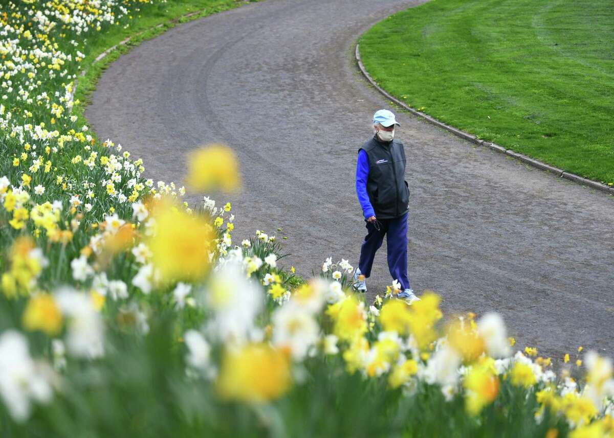 Greenwich's Arle Presto wears a mask while walking on the Havemeyer Field track beside a colorful array of daffodils in Greenwich, Conn. Wednesday, April 21, 2021. The state is easing the rules on wearing masks.