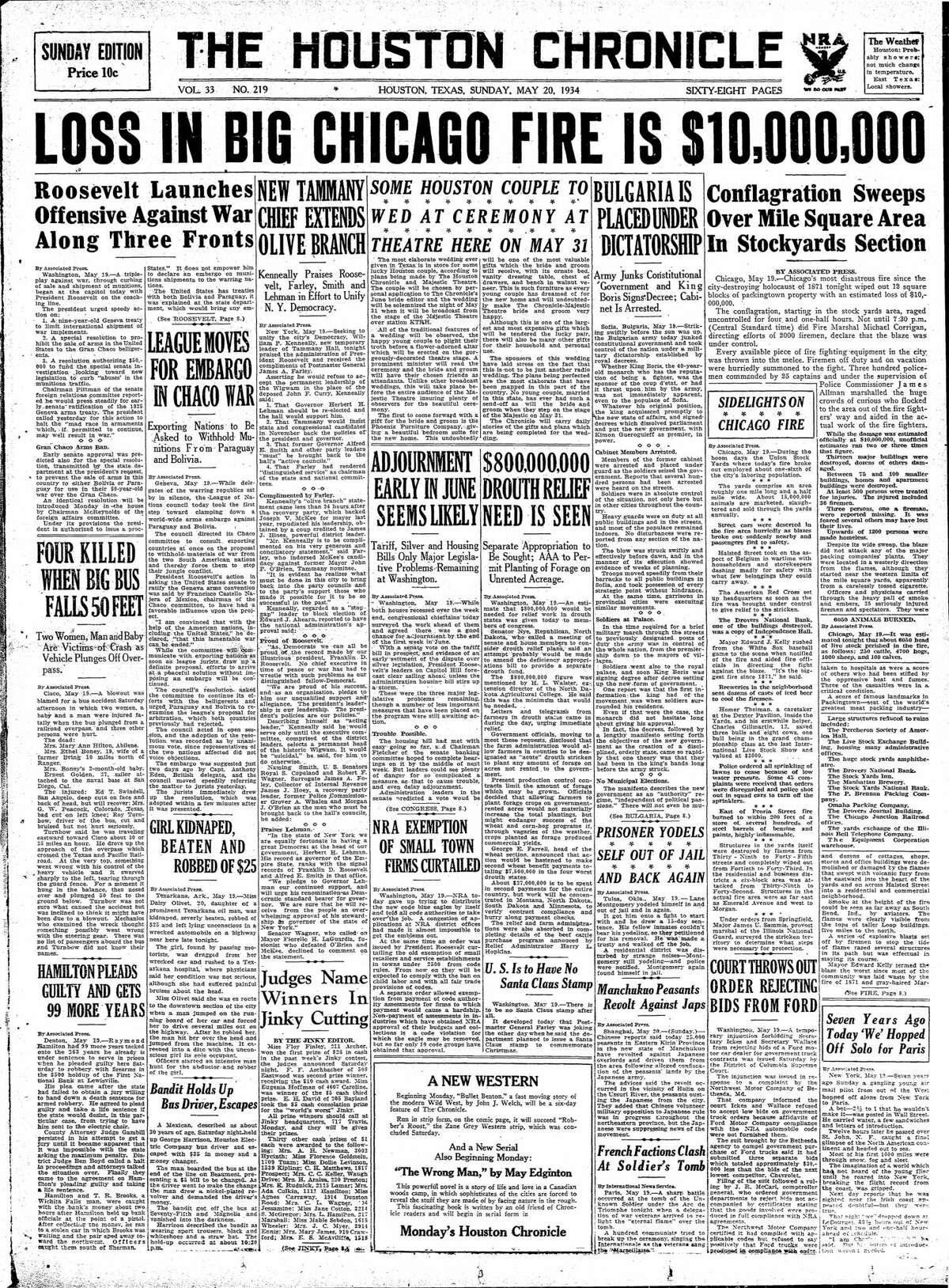 Houston Chronicle front page for May 20, 1934.