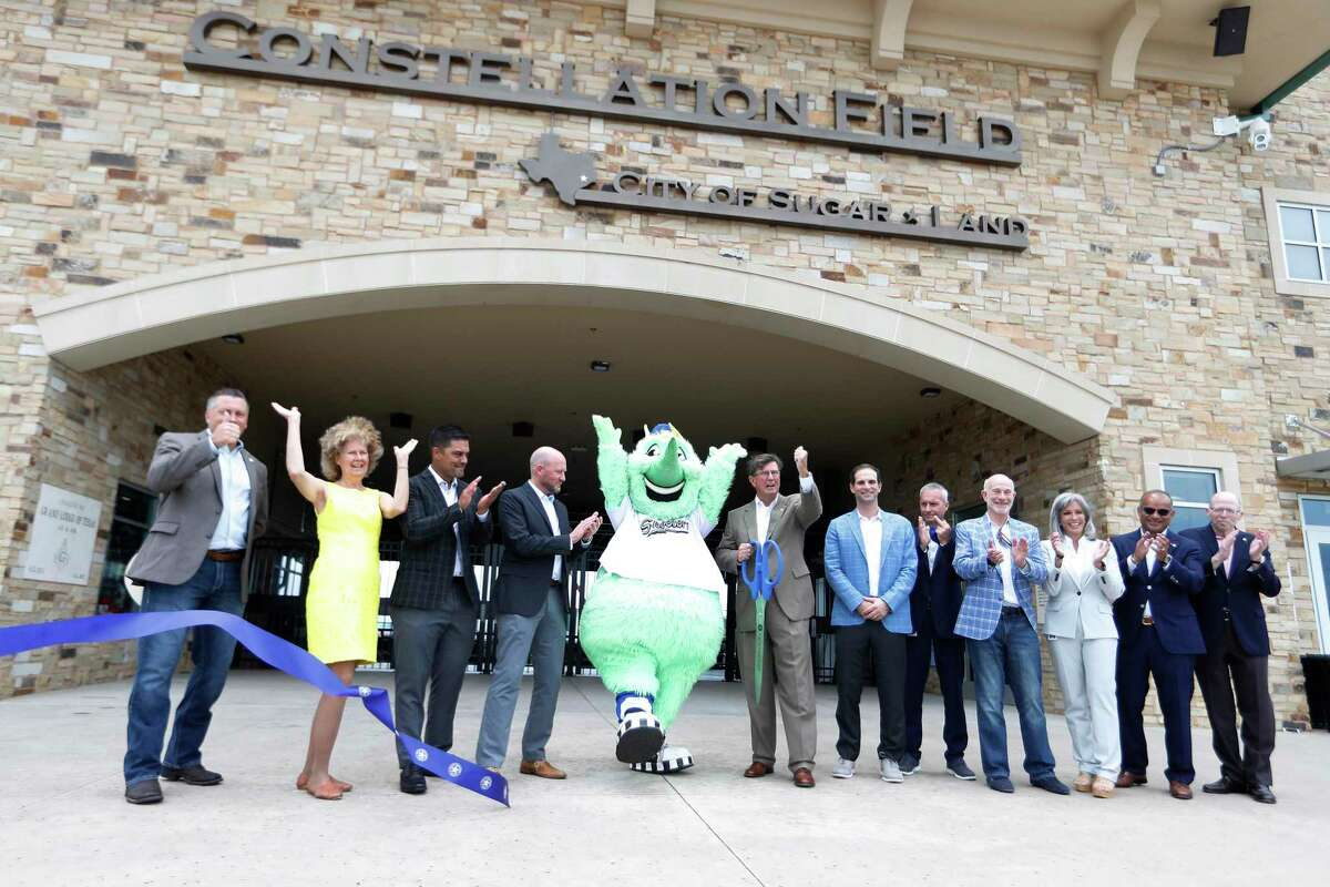 Astros and Sugar Land dignitaries, joined Tuesday by Skeeters mascot