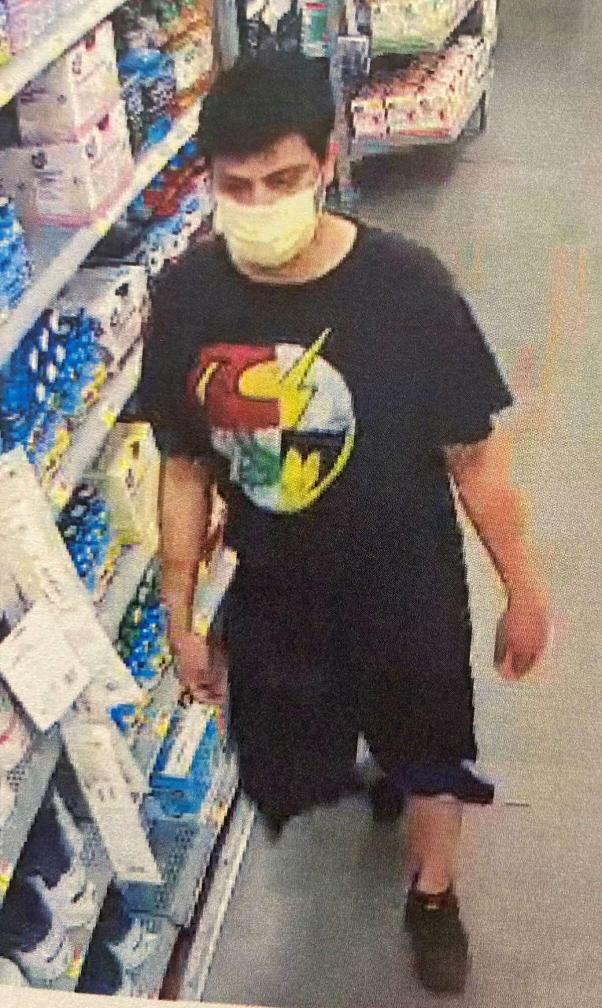 Laredo police said this man wearing a Justice League T-shirt is wanted in relation to a recent assault.
