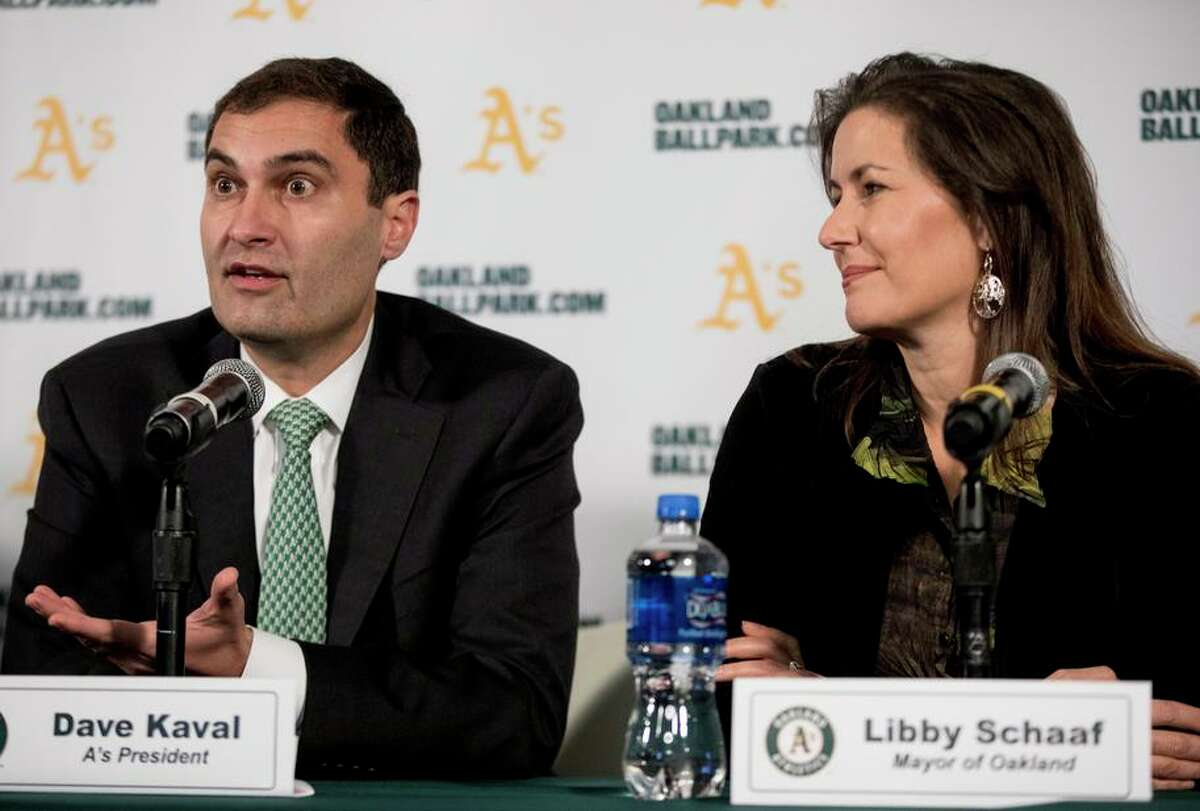 A's President Dave Kaval (left) answers questions as Oakland Mayor Libby Schaaf looks on during a press conference held at the A's corporate offices in Oakland, Calif. Wednesday, Nov. 28, 2018 announcing early plans to build a new ballpark at Howard Terminal.