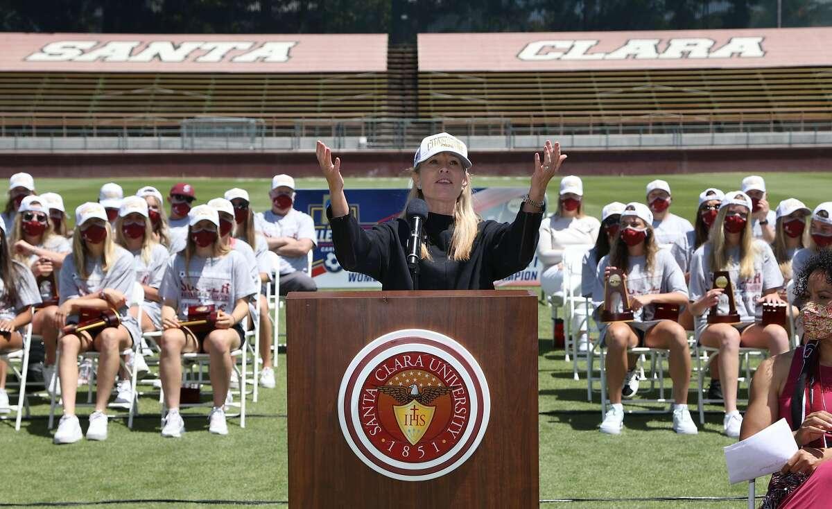 Renee Baumgartner, Santa Clara University's Director of Athletics speaks at the Santa Clara University Women?•s soccer team's championship celebration at Stevens Stadium in Santa Clara, Calif. on Wednesday, May 19, 2021.