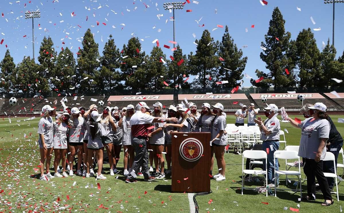 The Santa Clara University Women's soccer team's championship celebration at Stevens Stadium in Santa Clara, Calif. on Wednesday, May 19, 2021.