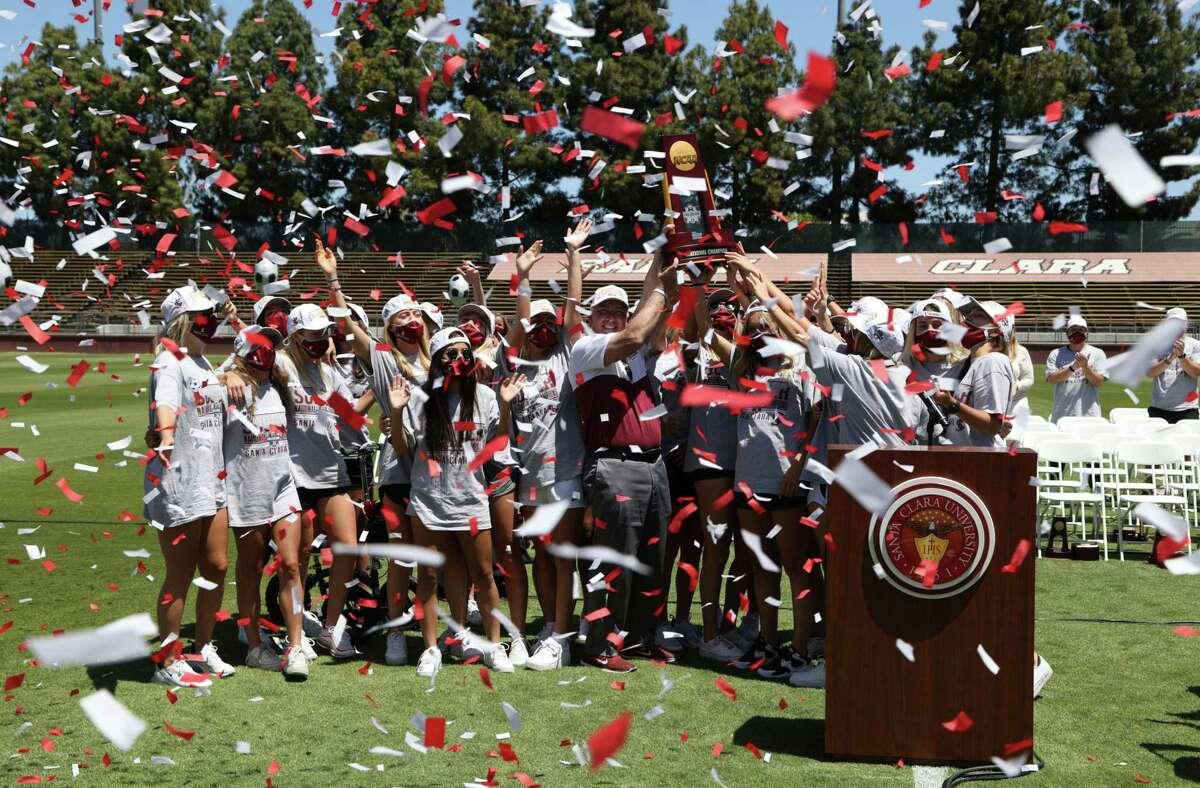 The Santa Clara women celebrate the program's second national championship at Stevens Stadium on campus.