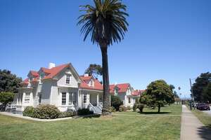 A row of former military houses line Funston Avenue in Presidio in San Francisco, Calif., on May 19, 2021. Some of the houses have been turned into children's schools.