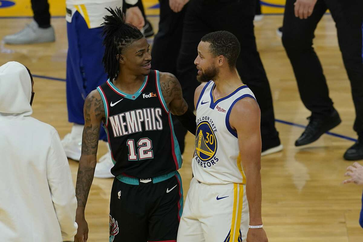 Ja Morant, left, meets Stephen Curry as Memphis takes on the Warriors in a Western Conference play-in game at 6 p.m. Friday (ESPN/95.7).
