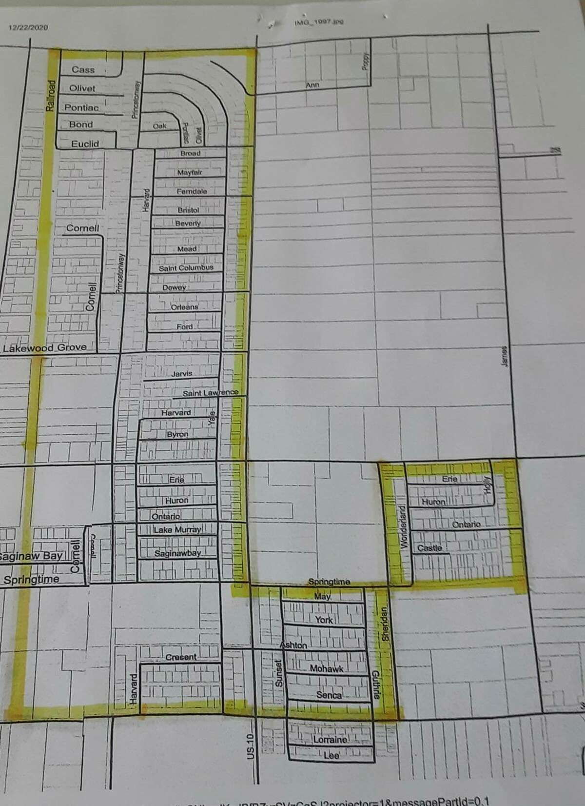 """The map shows the boundaries of the """"Restricted Camper Zone"""" established by the revised camper ordinance approved by the Webber Township board of trustees at its meeting last week. (Photo courtesy of Webber Township)"""