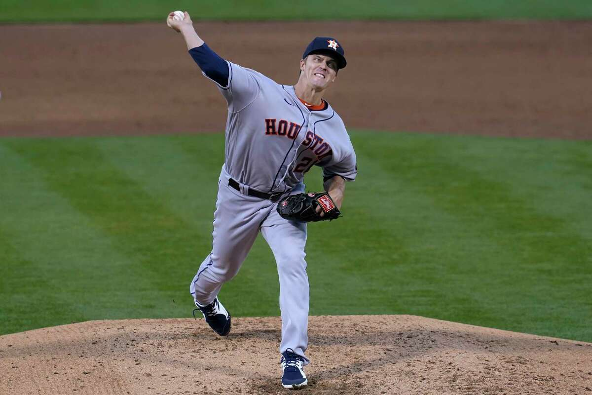 Astros veteran Zack Greinke turned up the velocity Wednesday night in a masterful outing against the A's.