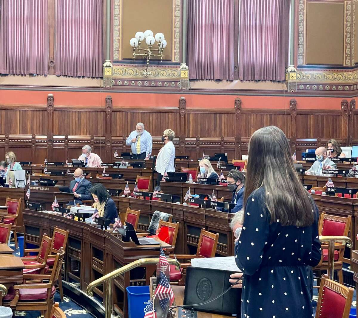 Rep. Jillian Gilchrest, D-West Hartford, defending the pregnancy crisis center bill in an exchange with Rep. Charles Ferraro, R-West Haven, on Wednesday.