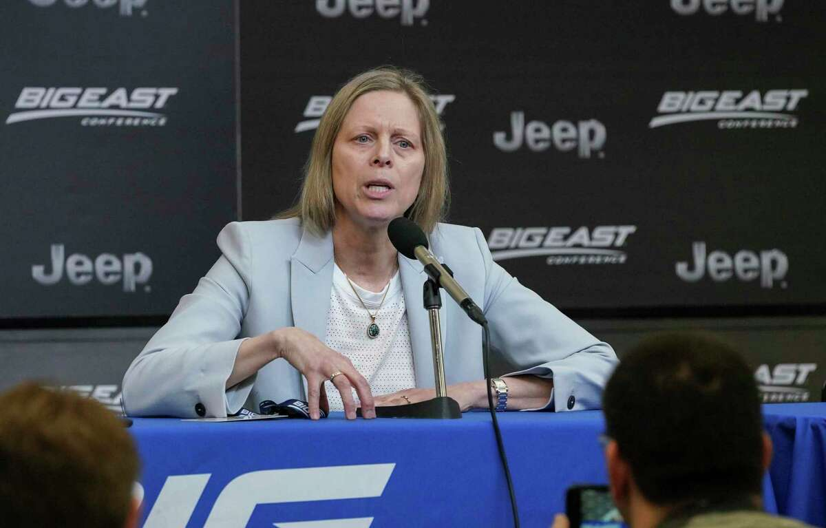 Big East Commissioner Val Ackerman talks to the media after the men's basketball tournament was canceled, at Madison Square Garden on March 12, 2020, in New York City. The cancellation came amid reports of the escalation of the coronavirus COVID-19.