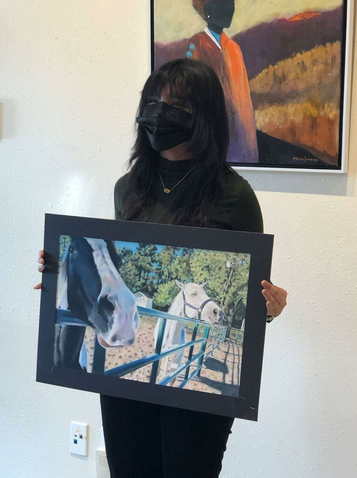 Jacqueline Degouado won the Adrianne Gerlach Memorial Art Scholarship for best western and wildlife art with her work