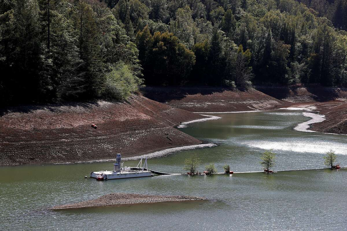 ROSS, CALIFORNIA - APRIL 21: Low water levels are visible at Phoenix Lake on April 21, 2021 in Ross, California. Marin County became the first county in California to impose mandatory water-use restrictions that are set to take effect May 1. Residents will be ordered to refrain from washing cars at home, refilling pools and only water lawns once a week. California Gov. Gavin Newsom declared a drought emergency in Sonoma and Mendocino counties as the worsening drought takes hold in the state. (Photo by Justin Sullivan/Getty Images)