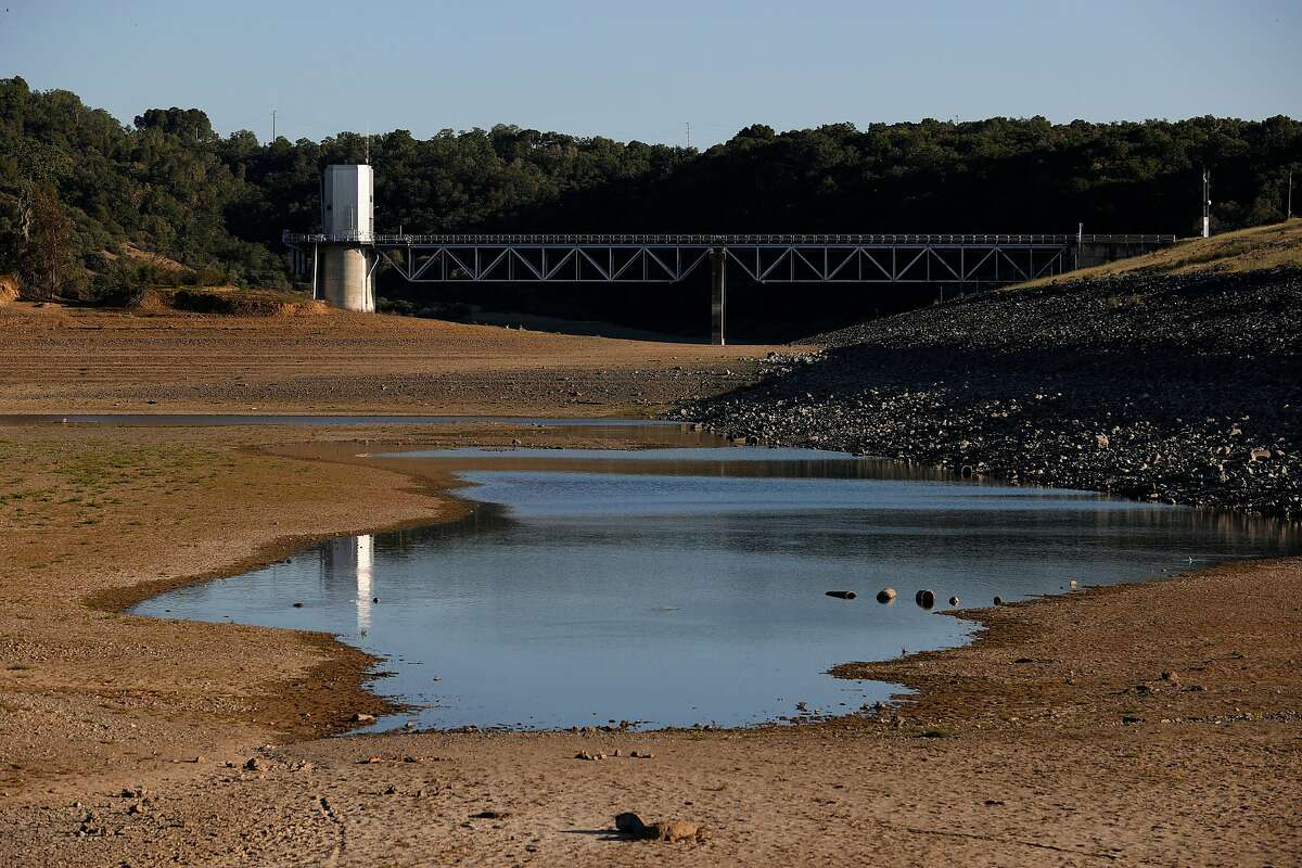 UKIAH, CALIFORNIA - APRIL 22: Low water levels are visible at Lake Mendocino on April 22, 2021 in Ukiah, California. As severe drought takes hold in California, the water level at Mendocino County's Lake Mendocino has dropped to a historic low of 43 percent capacity. This week, California Gov. Gavin Newsom declared a drought emergency in Sonoma and Mendocino counties. (Photo by Justin Sullivan/Getty Images)