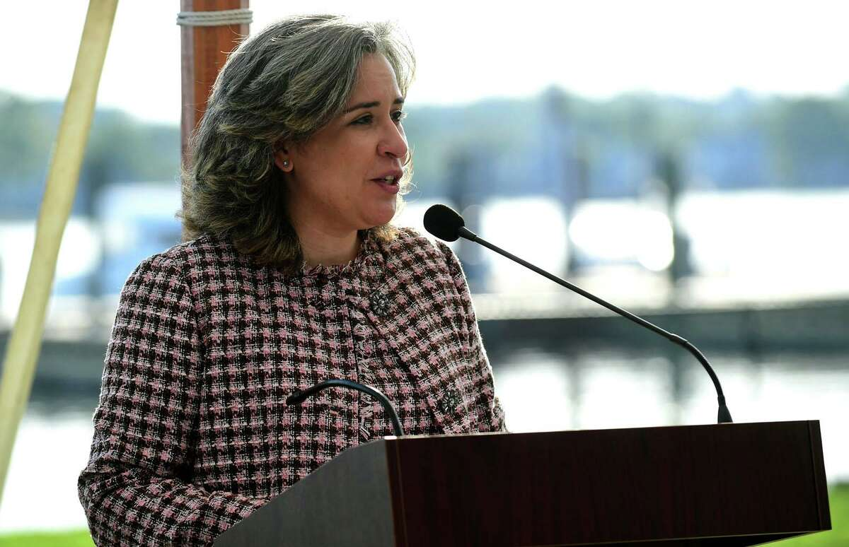 Norwalk Superintendent of Schools Dr. Alexandra Estrella addresses P-Tech high school students s they celebrate their graduation during a reception Wednesday, May 19, 2021, at Longshore Pavillion in Norwalk, Conn.