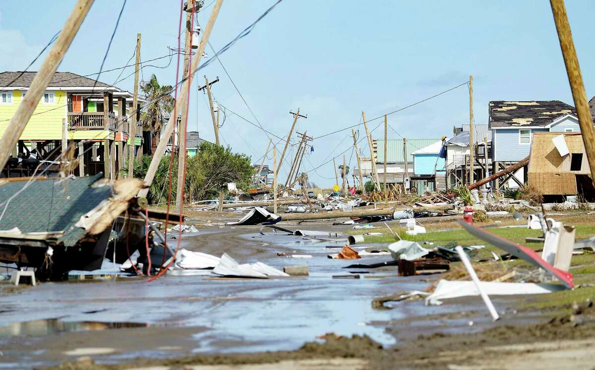 Destruction from Hurricane Laura near Holly Beach, Louisiana on Saturday, Aug. 29, 2020.