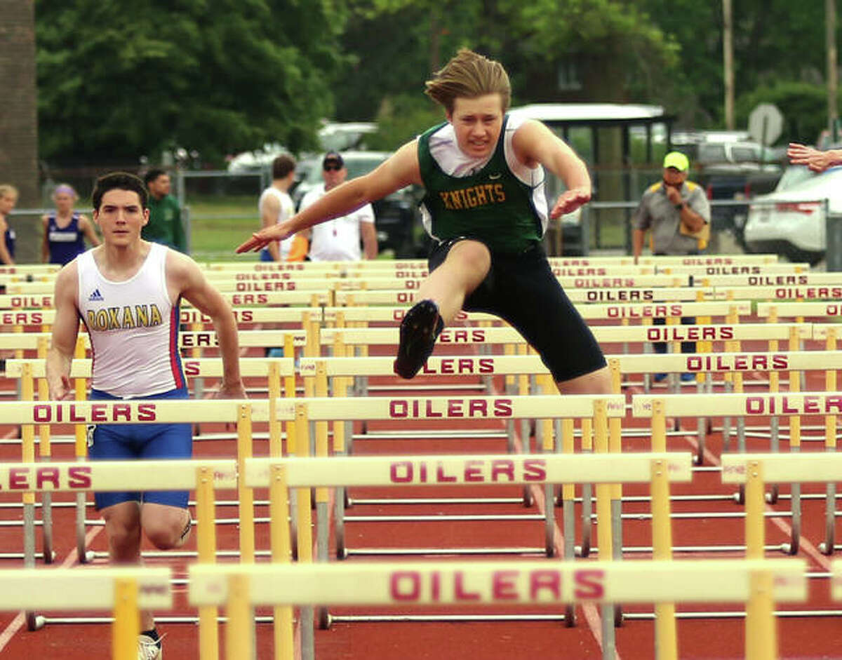 In this file photo, Metro-East Lutheran's Nathan Butler wins the 110-meter hurdles during the Madison County Meet. On Wednesday, Butler won the 110 hurdles and took third in the 300 hurdles at the Prairie State Conference Meet.