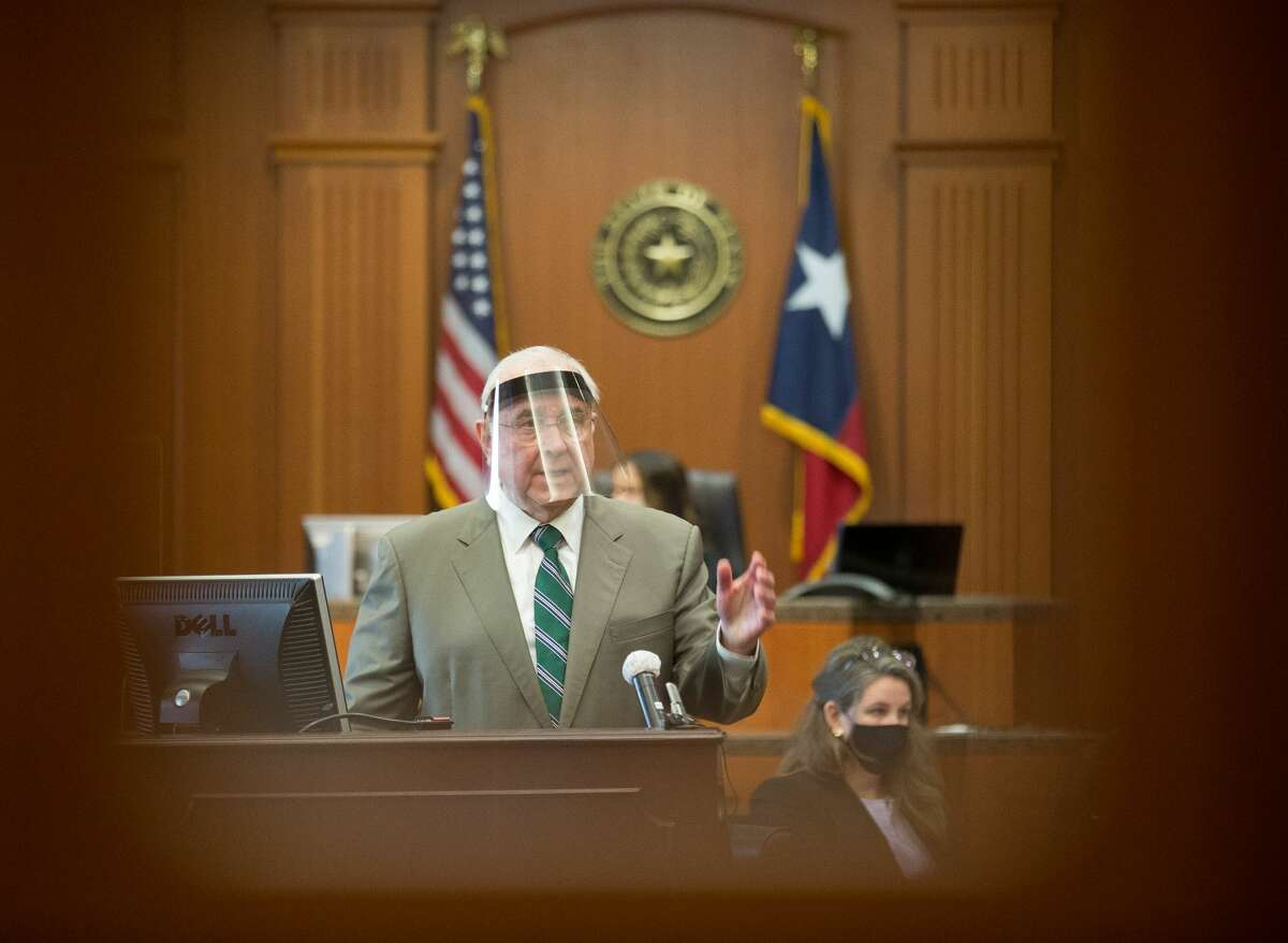 Plaintiff attorney Tom Cunningham delivers his opening statement as the trial against Baylor University and two former football players accused in a sexual assault case begins at 234th Court at Harris County Civil Courthouse, on Thursday, May 20, 2021, in Houston.