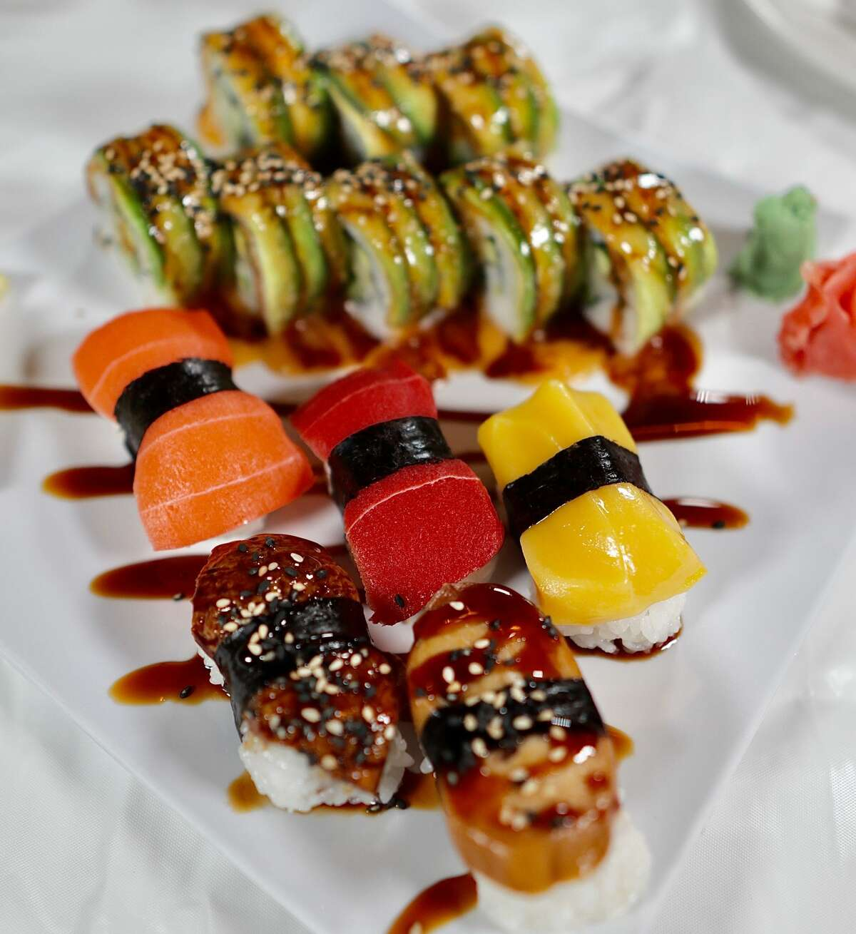 A variety sushi plate from Chef Kenny's Asian Vegan Restaurant.