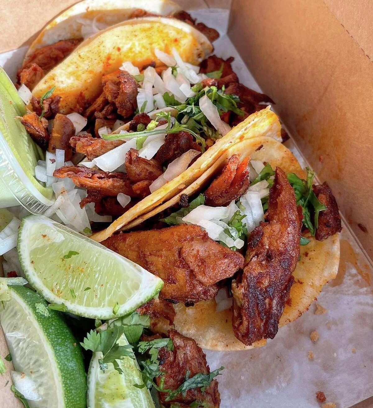 Vegan carne asada and vegan al pastor tacos at Korny Vibes.