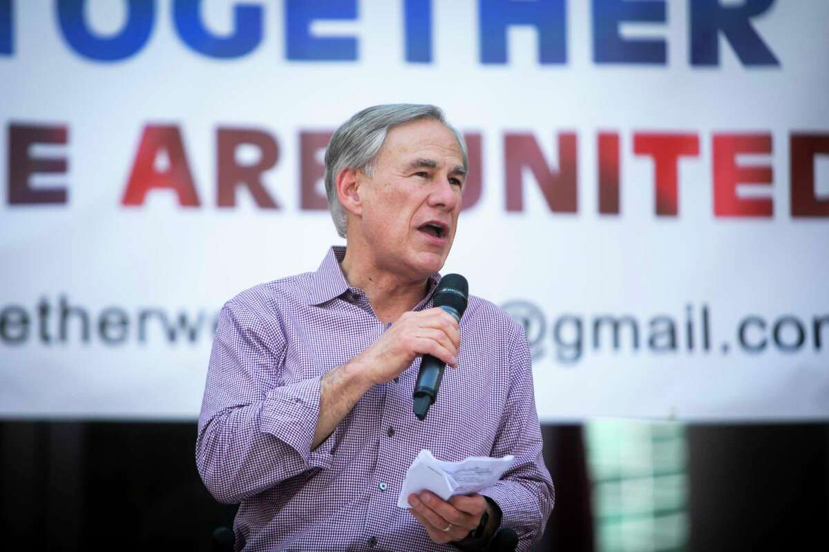 Texas Gov. Greg Abbott speaks during a rally at the Sugar Land Town Square on Saturday, May 15, 2021.