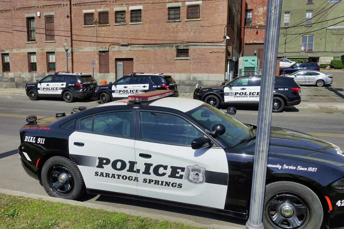 A view of Saratoga Springs Police vehicles parked outside the police station on Thursday, May 20, 2021, in Saratoga Springs, N.Y. (Paul Buckowski/Times Union)