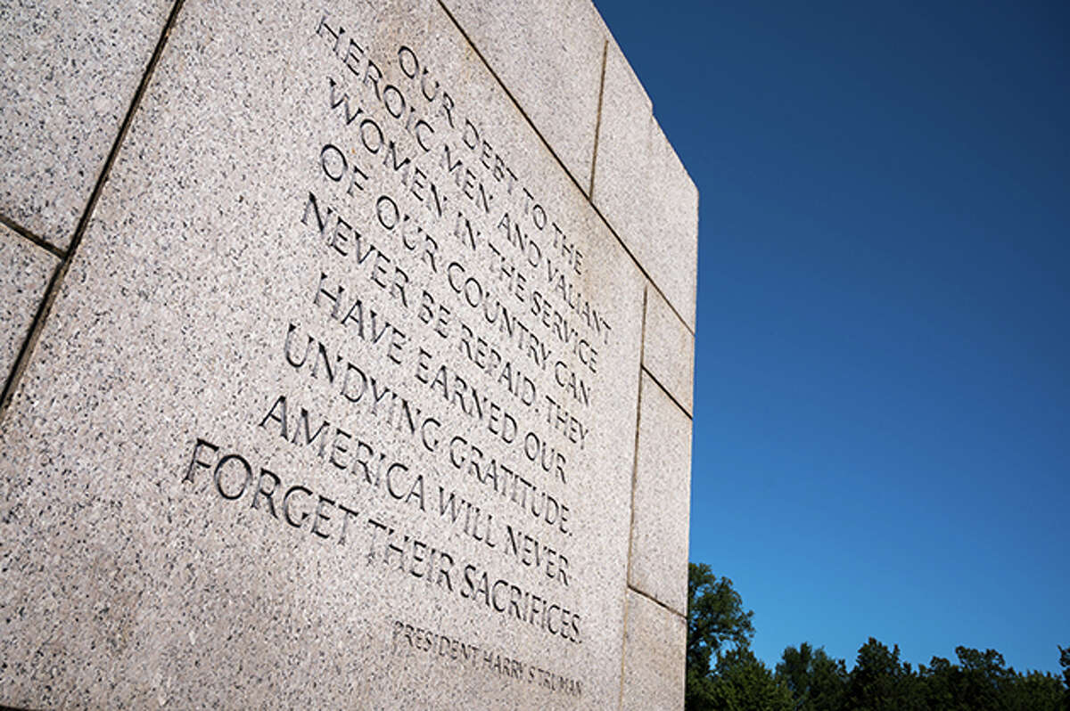 A quote by President Harry S. Truman carved onto a wall of the World War II memorial in the National Mall in Washington D.C.