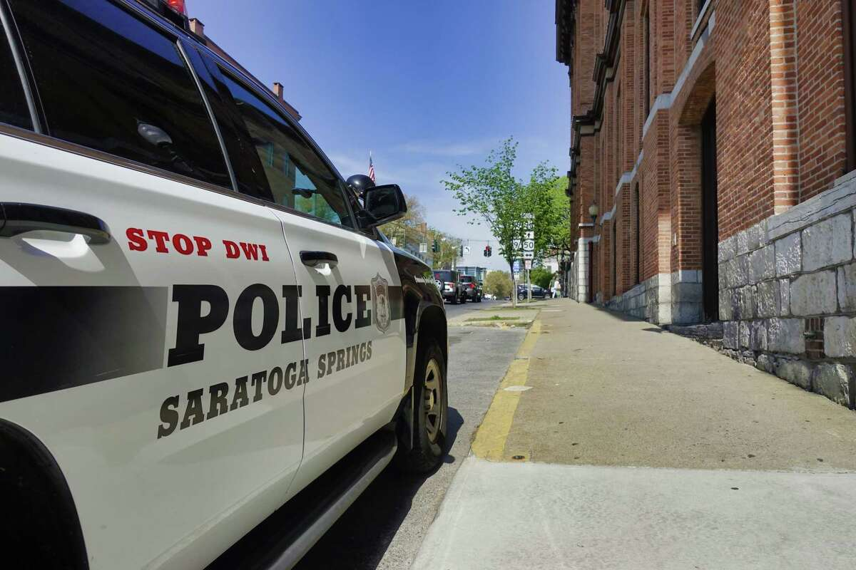 A view of a Saratoga Springs Police vehicle parked outside the police station on Thursday, May 20, 2021, in Saratoga Springs, N.Y. (Paul Buckowski/Times Union)