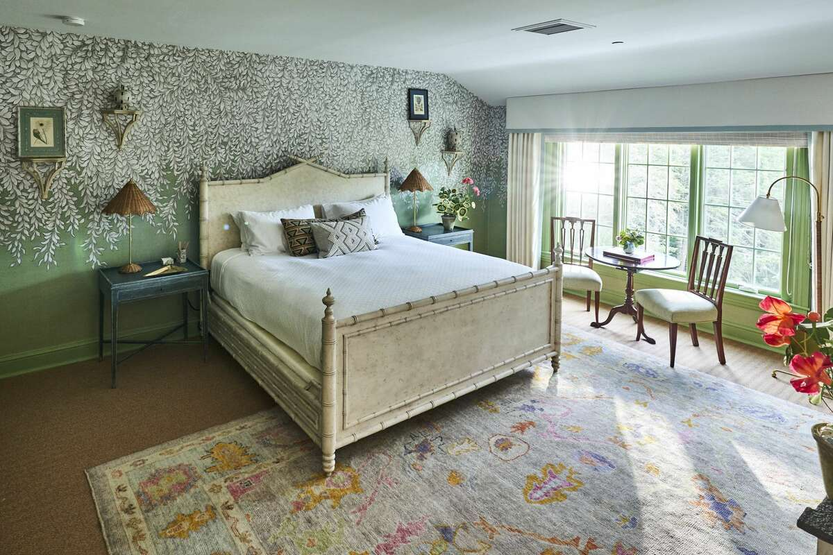 A guest room at the Mayflower Inn & Spa, Auberge Resorts Collection. The interior of the hotel was redesigned in the fall of 2020.