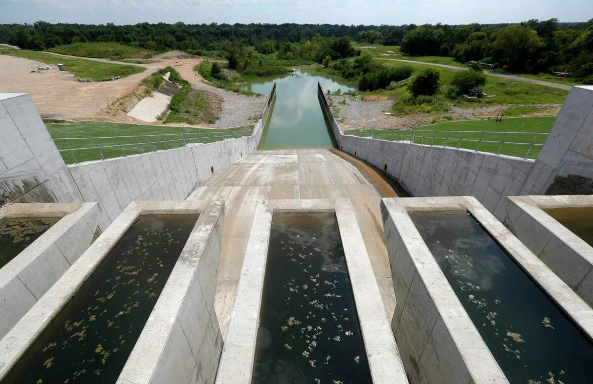 The reserve spillway for Energy Texas' $937 million power plant, in Willis.
