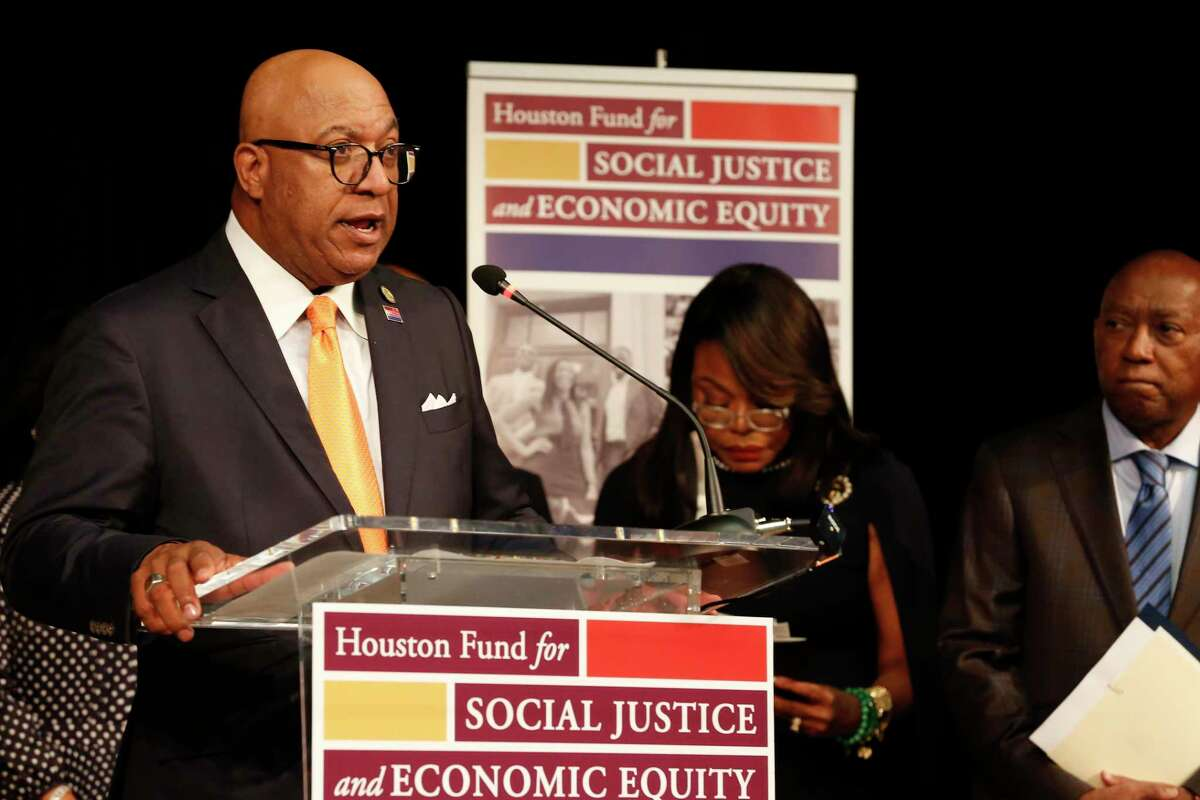 Thomas Jones, along with a group of Black Houston business executives and civic leaders, announced the launch of the Houston Fund for Social Justice and Economic Equity in the Cultural Center in Emancipation Park Thursday, May 20, 2021, in Houston. The newly created philanthropic organization is dedicated to addressing social and economic inequalities by investing resources in nonprofit organizations that empower and uplift Houston's Black community.