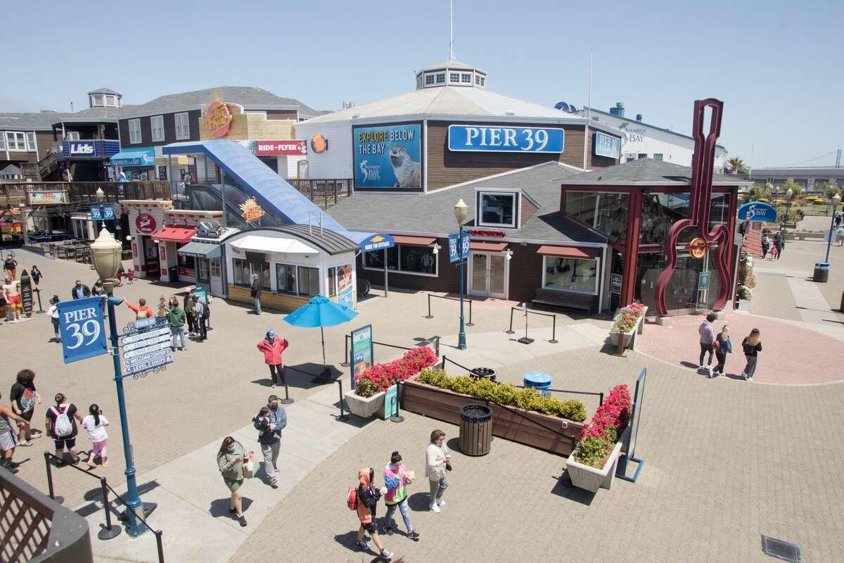 Visitors at Pier 39 in San Francisco, Calif., on May 12, 2021.