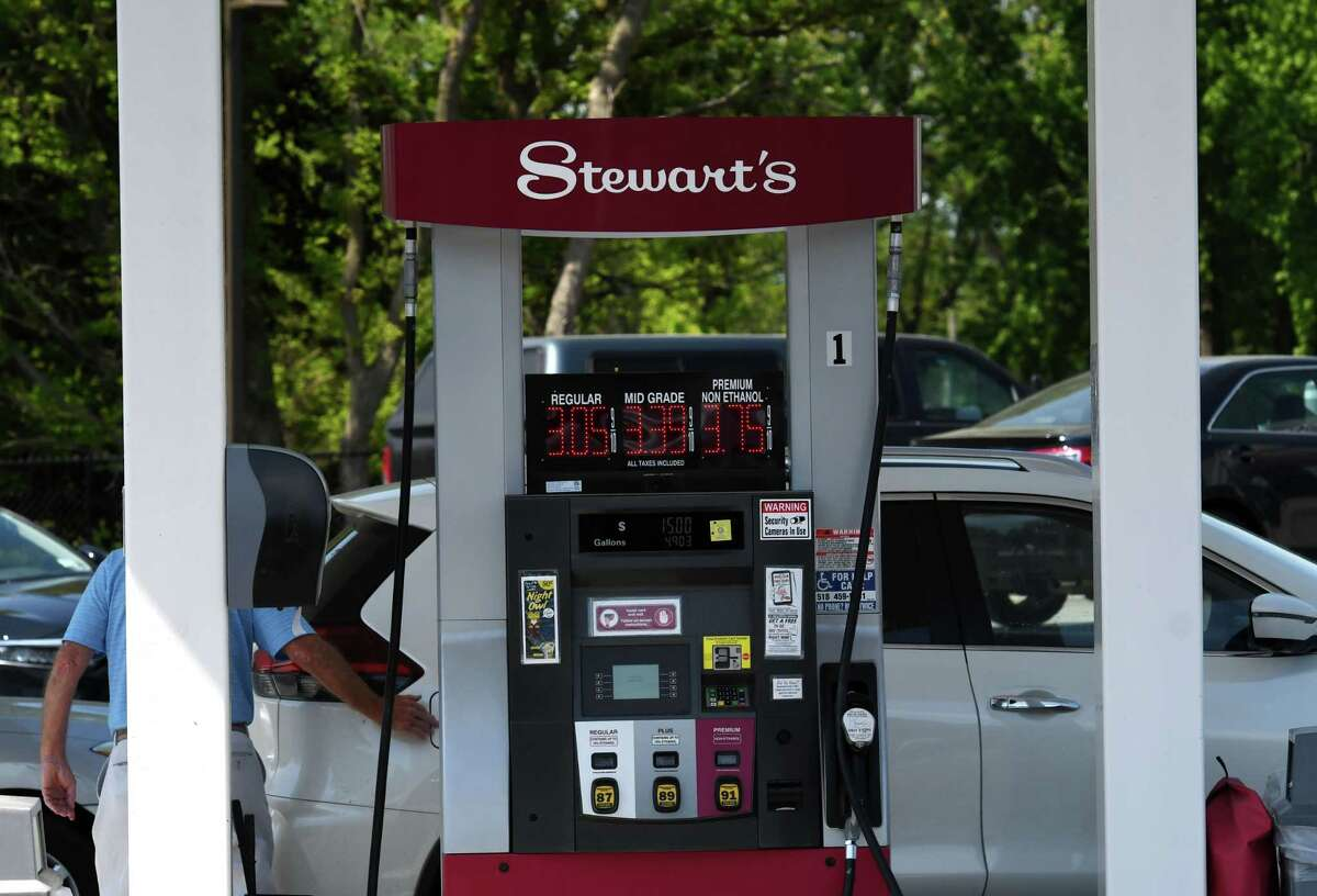 Gas pumps at the recently updated Albany Shaker Road Stewart's Shop convenience store on Thursday, May 20, 2021, in Colonie. Stewart's says the move to electric vehicles will not be as swift as government wants.(Will Waldron/Times Union)