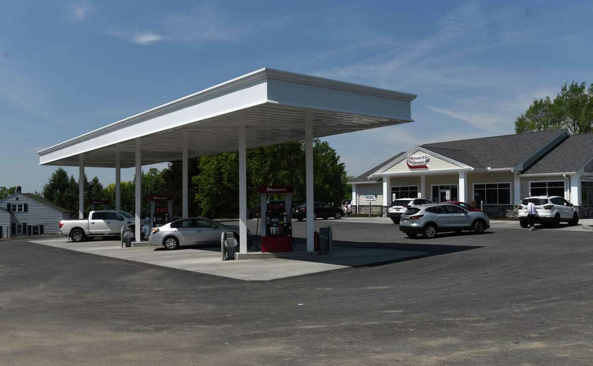 Gas pumps at the recently updated Albany Shaker Road Stewart's Shop convenience store on Thursday, May 20, 2021, in Colonie, N.Y. Stewart's says the move to the electric vehicle market will not be as fast as people expect. (Will Waldron/Times Union)